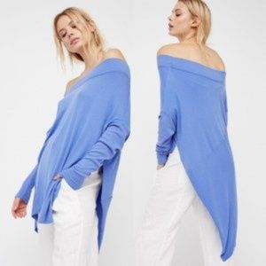 Free People Grapevine Off Shoulder Tunic Top Blue